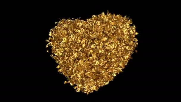 Forgó repülő arany Rózsa virág szirmai szív alakú Szent Valentin-nap, anyák napja, esküvői évfordulója üdvözlőlapok, esküvői meghívó születésnapi képeslap alfa-Matt problémamentes hurok 4k