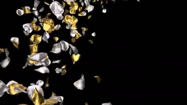 Romantikus arany ezüst fém repülő virágszirmok nőtt Szent Valentin-nap, anyák napja, esküvői évfordulója üdvözlőlapok, pályázati vagy születésnapi képeslap. Varrat nélküli hurok 4k alfa csatorna elszigetelt