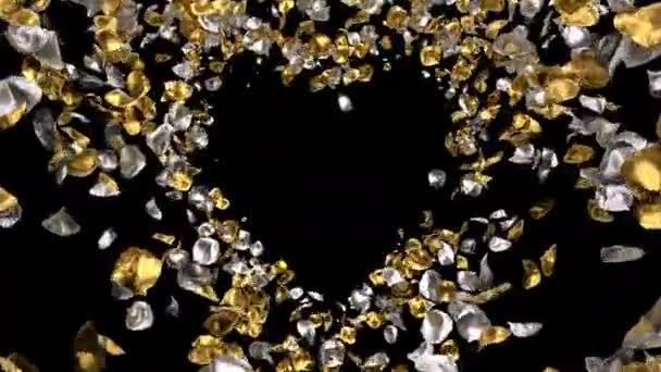 Romantikus, repülő arany ezüst Rózsa virág szirmai szív alakú Szent Valentin-nap, anyák napja, esküvői évfordulója üdvözlőlapok, esküvői meghívó születésnapi képeslap alfa-Matt problémamentes hurok 4k