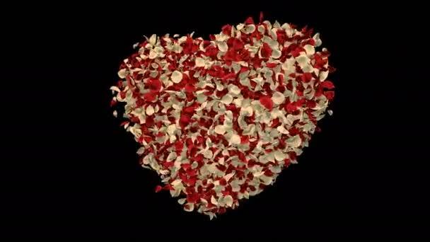 Forgó repülő piros fehér Rózsa virág szirmai szív alakú Szent Valentin-nap, anyák napja, esküvői évfordulója üdvözlőlapok, esküvői meghívó születésnapi képeslap alfa-Matt problémamentes hurok 4k