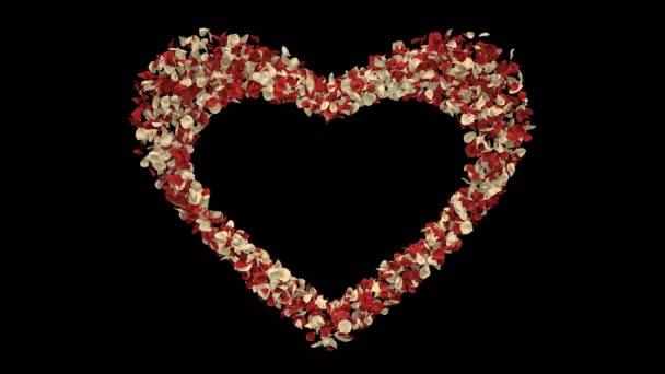Romantikus, repülő piros fehér Rózsa virág szirmai szív alakú Szent Valentin-nap, anyák napja, esküvői évfordulója üdvözlőlapok, esküvői meghívó születésnapi képeslap alfa-Matt problémamentes hurok 4k