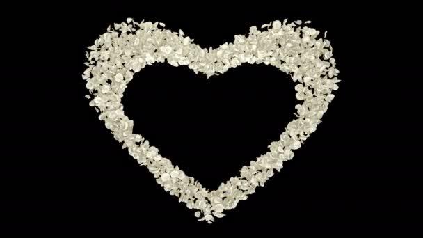 Romantikus, Fehér Rózsa virág szirmai szív alakú repülő Szent Valentin-nap, anyák napja, esküvői évfordulója üdvözlőlapok, esküvői meghívó születésnapi képeslap alfa-Matt problémamentes hurok 4k