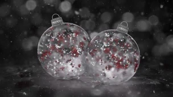 Dvě vánoční bílá LED ozdoby dekorace Sněhurka smyčka pozadí červené lístky