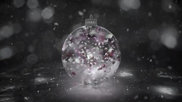 Vánoční rotující White Ice sklo cetka sníh barevné lístky na pozadí smyčky