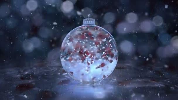 Karácsonyi forgatható kék jég pohár csecsebecse hópelyhek piros szirmok háttér hurok