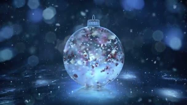 Vánoční rotující Blue Ice sklo cetka sníh barevné lístky na pozadí smyčky
