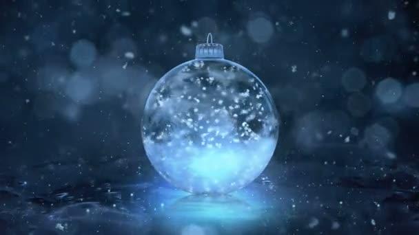 Vánoční rotující Blue Ice skleněná cetka dekorace vločky pozadí smyčka
