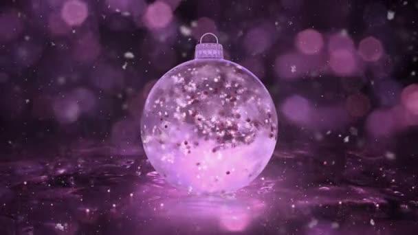 Weihnachten rosa Eis Glaskugel Dekoration Schneeflocken rote Kugeln Hintergrund Schleife