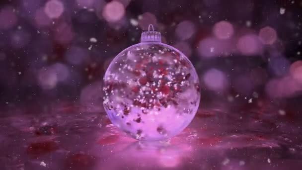 Christmas Rotating Pink Ice Glass Bauble snow red petals background loop