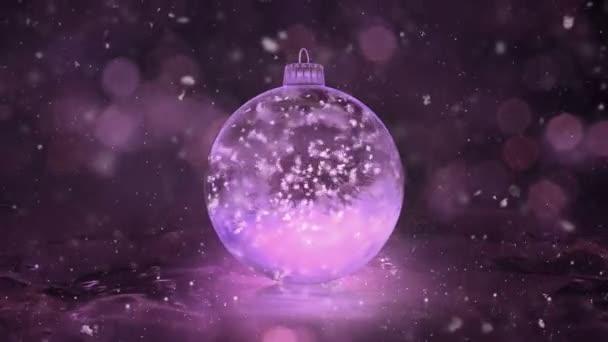 Vánoční rotující růžové ledu skleněná cetka dekorace vločky pozadí smyčka