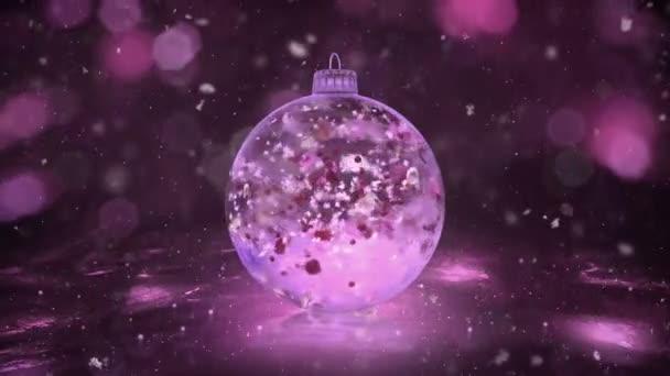 Karácsonyi forgó rózsaszín jég pohár Bauble snow színes szirmok háttér hurok