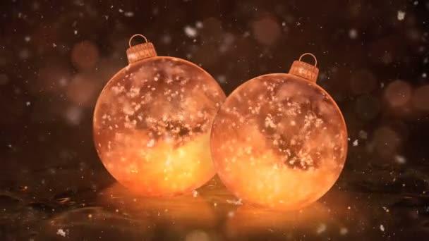 Dvě sněhové vločky vánoční zlatý LED skleněné ozdoby dekorace pozadí smyčky