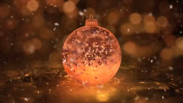 Christmas Rotating Golden Ice Glass Bauble snowflakes red balls background loop
