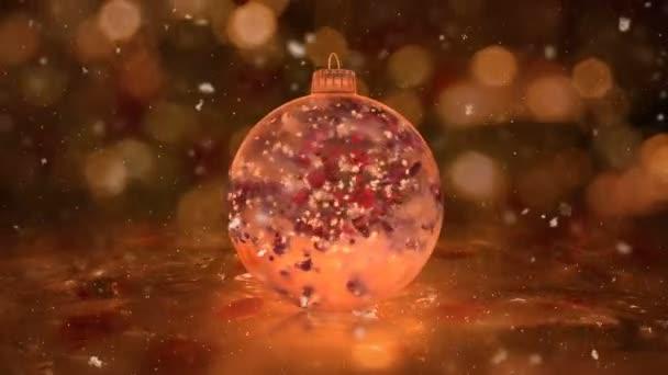 Karácsonyi forgó arany jég pohár csecsebecse hópelyhek piros szirmok háttér hurok