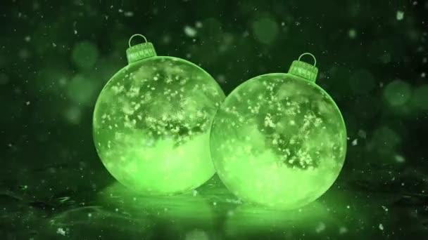 Dvě vánoční nový rok zelené LED skleněné ozdoby dekorace Sněhurka pozadí smyčky