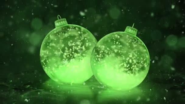 Dvě rotující vánoční Green Ice skleněné cetky dekorace Sněhurka pozadí smyčky
