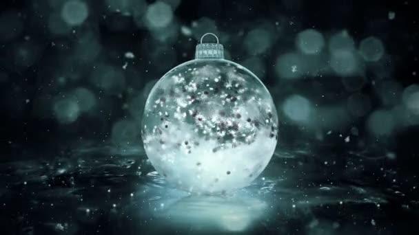 Vánoční Grey Noir ledu skleněná cetka dekorace sněhu červené koulí pozadí smyčka