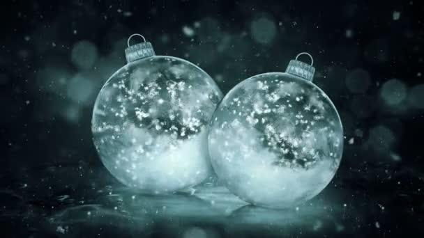 Dvě sněhové vločky vánoční Grey Noir ledu skleněné ozdoby dekorace pozadí smyčky