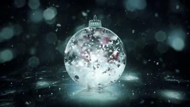 Karácsonyi forgó szürke Noir jég Bauble snow színes szirmok háttér hurok
