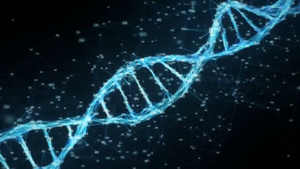 Abstract Digital random digits plexus DNA molecule For visuals, biology, biotechnology, chemistry, science, medicine, cosmetics, motion background, medical dashboard Seamless Loop