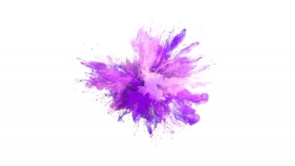 Lila rózsaszín színes robbanás - színes füst robbanás folyadék részecskék lassított alfa-Matt elszigetelt fehér