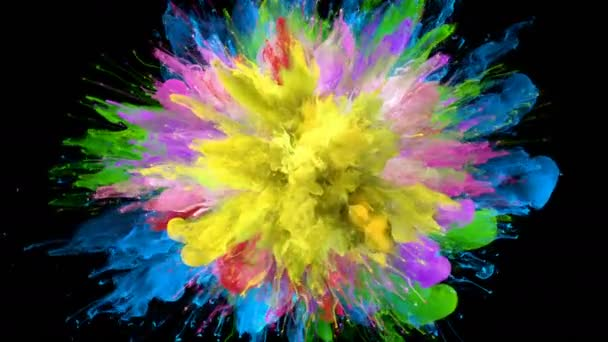Color Burst - colorful smoke explosion fluid particles slow motion alpha matte isolated on white