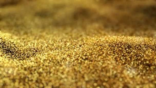 Fényes hullámzó mozgó áramló gyűrűző arany arany fénylik háttér absztrakt varrat nélküli Vj hurok részecskék hátteret