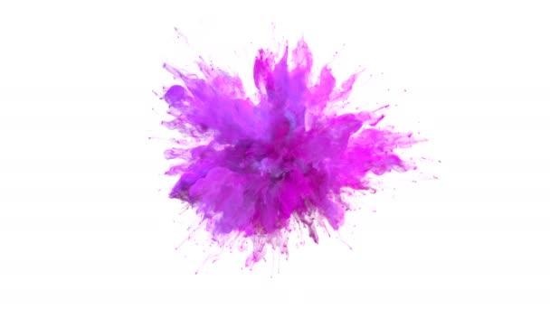 Bíbor rózsaszín színes robbanás - színes füst robbanás folyadék részecskék lassított alfa-Matt elszigetelt fehér