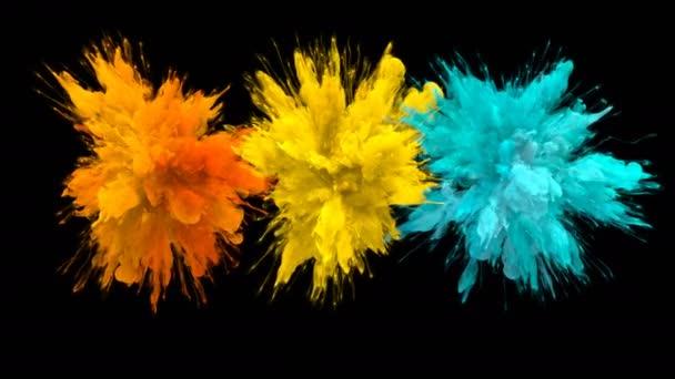 Orange Yellow Cyan Color Burst - Multiple colorful smoke explosions fluid alpha