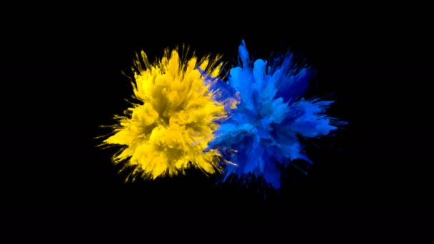Yellow Blue Color Burst - Multiple colorful smoke explosions fluid alpha matte