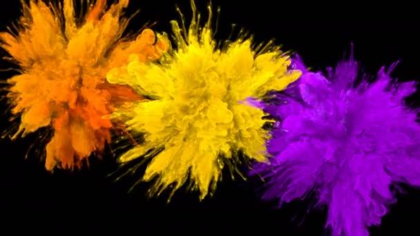 Oranžová žlutá fialová barevná shluk barevný kouř výbuch tekutiny alfa