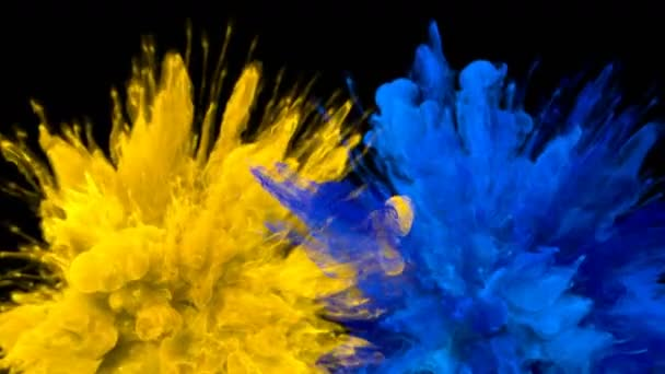 Yellow Blue Color Burst Multiple colorful smoke explosions fluid particles alpha