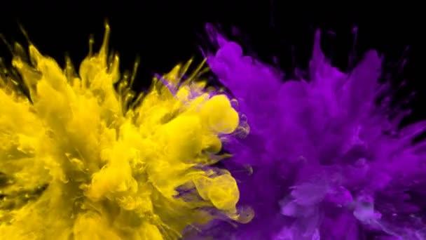 Sárga lila szín burst-több színes füst robbanások folyadék alfa Matt