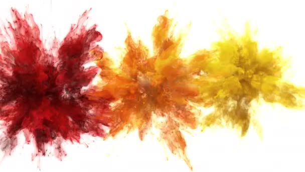 Red Orange Yellow Color Burst - Multiple colorful smoke explosions fluid alpha