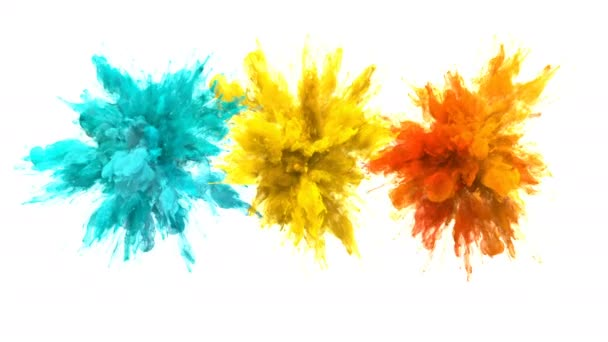 Cyan Yellow Orange Color Burst Multiple colorful smoke explosions fluid alpha