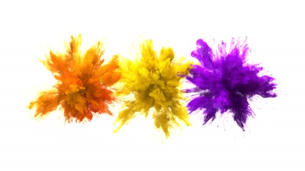 Orange Yellow Purple Color Burst Multiple colorful smoke explosions fluid alpha