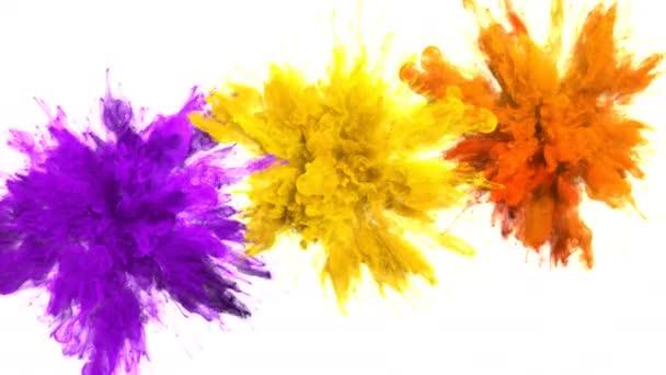 Lila sárga narancs szín burst több színes füst robbanások folyadék alfa