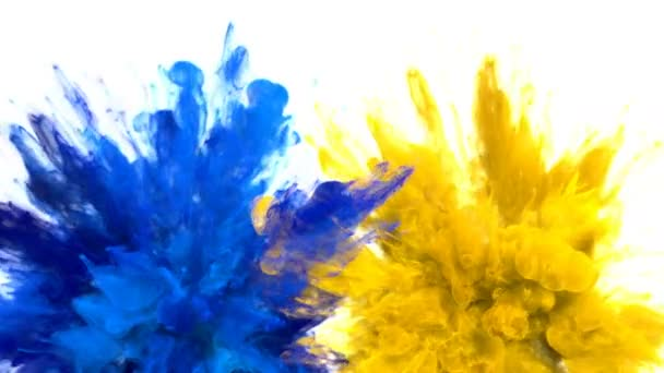 Blue Yellow Color Burst Multiple colorful smoke explosions fluid particles alpha