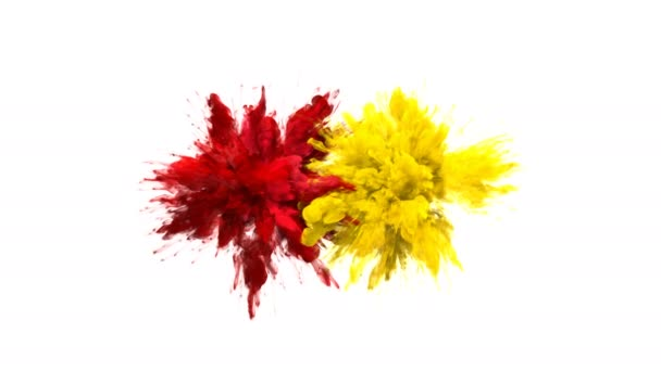 Red Yellow Color Burst Multiple colorful smoke explosions fluid particles alpha