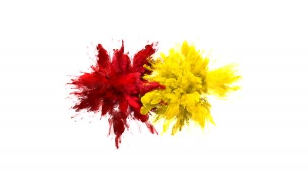 Červená žlutá barva shluk barevný kouř výbuchy tekutých částic alfa