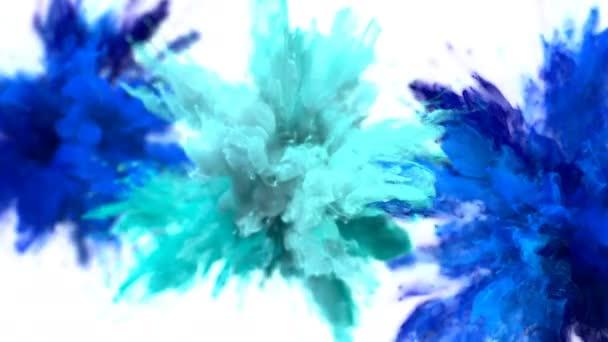 Kék cián színes burst több színes füst robbanás folyadék részecskék alfa