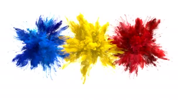 Blue Yellow Red Color Burst Multiple colorful smoke explosions fluid alpha matte