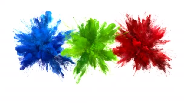 Blue Green Red Color Burst Multiple colorful smoke explosions fluid alpha matte