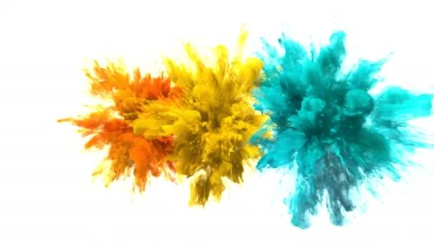 Color Burst - Multiple colorful smoke explosions fluid particles alpha matte