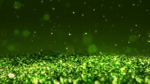 Zöld fényes csillogás folytonos hurok absztrakt textúra közelről makró háttér