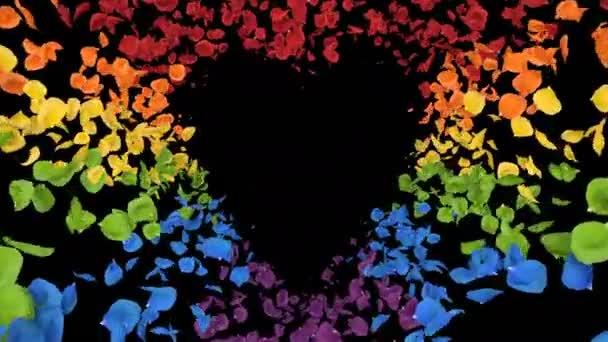 Repülő romantikus irizáló színes szivárvány Rózsa virág szirmok szív Alpha loop