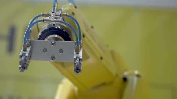 Průmyslový robot manipulátor žluté barvy provádí pohyby, které jsou naprogramované v řídicí jednotce. Zastřelen v pohybu