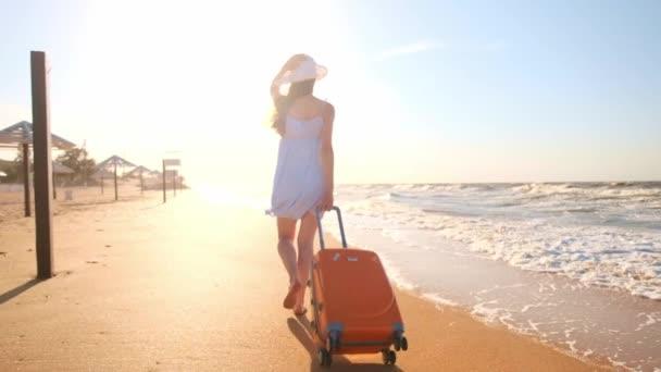 Mladá žena s kufrem sedí na pláži. mladá dívka chodí po pláži s kolečky kufr. Kormoráni po písku podél moře. Dívka hledá sama sebe a dobrodružství.