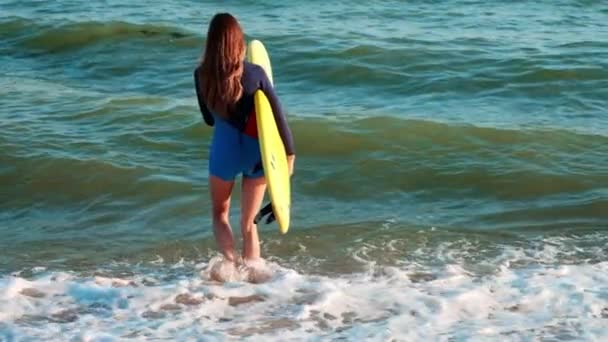 SLOW MOTION: Slim girl professional surfer comes to the sea along the beach. In the hands of yellow surfboards, dressed in a wetsuit.