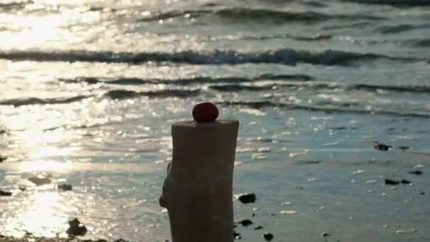 Slow motion: mladá sexy dívka poráží baseballovou pálku s zelenina a rajče ovoce. Nachází se na pláž, písečná pláž.